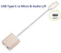 Cáp chuyển đổi USB Type-C sang Micro và Loa
